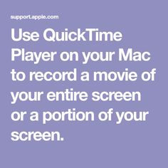 Record your screen in QuickTime Player on Mac Create Space, School Counseling, Mac, Self, Movies, Films, Cinema, Movie, Film