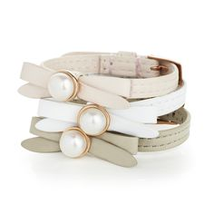 Joli leather and freshwater pearl bracelet.