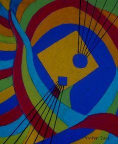 Abstrakt 194, pastell. Abstract 194, pastel.