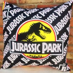 Jurassic Park Retro Fabric Dinosaur Cushion Handmade by Alien Couture on @Etsy | Killer Kitsch