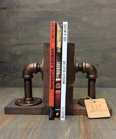 Industrial Bookends / Steampunk / Bookends / Industrial chic / industrial bookend / hand made / wood / iron / books living rooms bedrooms chic decor decor lamp Bohemian decor industrial industrial decor industrial furniture Industrial Design Furniture, Vintage Industrial Furniture, Industrial Interiors, Pipe Furniture, Industrial Chic, Rustic Furniture, Industrial Windows, Industrial Farmhouse, Industrial Apartment