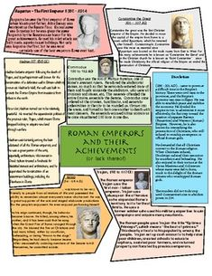 Roman Emperors and their achievements (or lack thereof). Here, students create an engaging timeline that focuses on 7 of Rome's most famous (and infamous) emperors! Rome Activities, History Activities, Teaching History, 7th Grade Social Studies, Teaching Social Studies, Student Teaching, Study History, History Class, Ancient World History