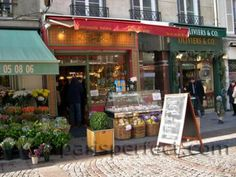 Charming shops in Rue Cler in the 7th arrondissement.