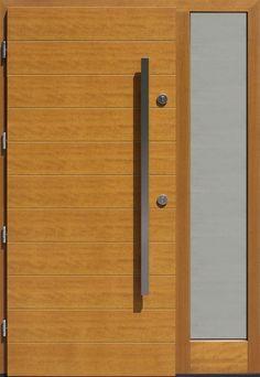 Drzwi zewnętrzne ze stałą dostawką doświetlem bocznym model 431,1 w kolorze jasny dąb