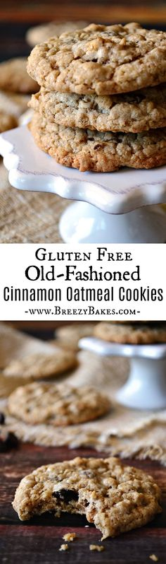 Gluten Free Cinnamon Spiced Old Fashioned Oatmeal Cookies – Breezy Bakes It's all about the cinnamon in these Gluten Free Cinnamon Spiced Old Fashioned Oatmeal Cookies. Add your favorite mix-ins for a warm and comforting homemade treat. Cookies Sans Gluten, Dessert Sans Gluten, Gluten Free Sweets, Dairy Free Recipes, Easy Recipes, Vegan Recipes, Cookie Recipes, Dessert Recipes, Cook Desserts