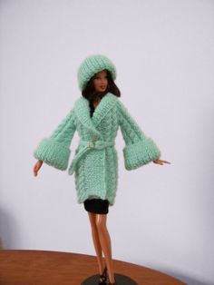 Fisherman Cable Sweater Coat with bell-shaped sleeves and matching hat for Barbie