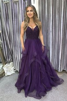 A Line Tulle Purple Beads Long Prom Dresses | sweetdressy Senior Prom Dresses, A Line Prom Dresses, Evening Dresses, Formal Dresses, Indian Designer Outfits, Make Color, Long A Line, Dress Making, Ball Gowns