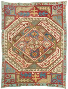 Azerbaijan silk embroidery, South Caucasus worked in stem stitch and running stitch approximately by by early century Japanese Embroidery, Vintage Embroidery, Embroidery Transfers, Embroidery Stitches, Fabric Rug, Running Stitch, Textiles, Textile Art, Rugs On Carpet
