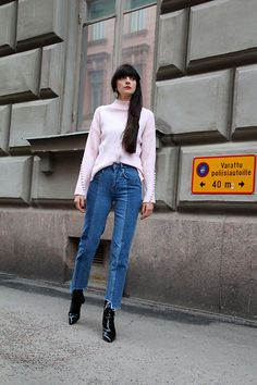 Get this look: http://lb.nu/look/8647663  More looks by Paz Halabi Rodriguez: http://lb.nu/pazhalabirodriguez  Items in this look:  Pixie Market Bell Sleeves Sweater, H&M High Waisted Jeans, Mango Patent Leather Boots   #casual #chic #street #blogger #newpost #santiago #chile #barcelona #madrid
