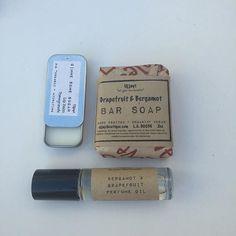 Grapefruit & Bergamot - set includes a fragrance oil, a bar soap and a lip balm. #vegansofig #skincare #perfume #ujjayiboutique #lipbalm #barsoap #etsyhandmade #freeshipping #friends