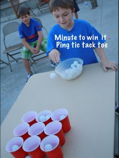 You need solo cups and Ping-Pong balls. You try to bounce the Ping-Pong balls into the solo cups. Youth Games, Fun Games, Games To Play, Group Games, Family Games, Carnival Games For Kids, Easter Games For Kids, Birthday Party Games, Birthday Games For Kids