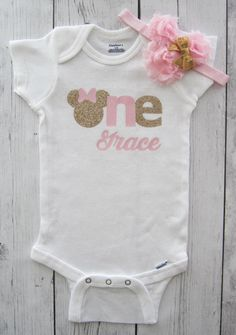 Minnie Mouse First Birthday Onesie in pink and gold girl