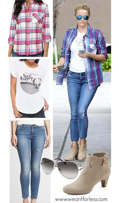 Reese Witherspoon in a plaid shirt, white tee, and skinny jeans - get the look for less! www.wearitforless.com