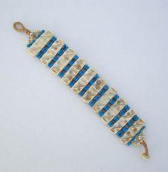 Wide Bone Turquoise Bead Link Bracelet Tribal Symbols Metal Free Vintage Jewelry
