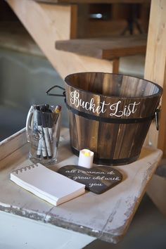 35 Rustic Wedding Card Boxes And Their Alternatives: wooden bucket for a bucket list is a unique idea