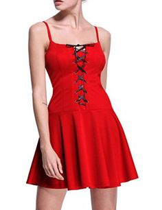 Firpearl Women's Front Lace Up Fit and Flare Straps Dress L Red  We all love the look of a sexy, trendy and cute casual dress.  I love to wear all types of women's dresses especially ones with a funky, abstract or even floral print.  These dresses are great to wear to work with a jacket or can be worn at night dressed up with jewelry and other fashion accessories.  These are some of the best dresses for women for fashion in 2017.