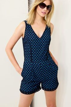Buy Broderie Overlay Navy Playsuit from the Next UK online shop