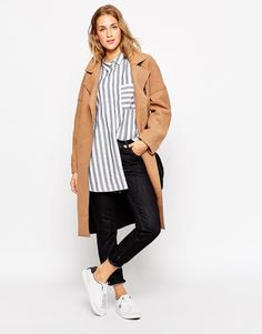 ASOS Coat in Bonded Cloth with Raw Edge / $162
