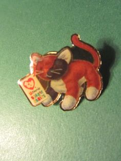 "MCDONALD'S 1"" TY TEENIE BEANIE BABY BROWN CAT LAPEL HAT PIN GROUP II"