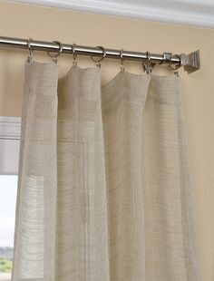 Luxurious Open Weave Natural Linen Sheer Curtains and drapes for window coverings. Buy Linen Sheers curtains at your expected price. Natural Curtains, Sheer Linen Curtains, Sheer Curtain Panels, Drapes Curtains, Curtains With Hooks, Curtain Rods, Balcony Curtains, Cabin Curtains, Curtain Call