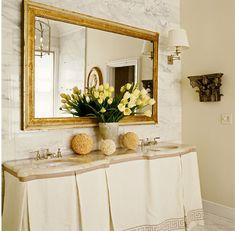 greek key skirted vanity