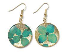 Hydrangea earrings turquoise hydrangeas by AmazoniaAccessories, €10.50