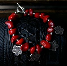 Red Coral Bracelet. Thai Hill Tribe Silver Charms. FLORAL Design.. .