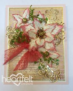 Cream Poinsettia Notes Christmas card from #HeartfeltCreations