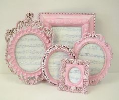 Picture Frames Shabby Chic Picture Frame Set Pink Ornate Frames Cottage Chic Home Decor Pink Wedding Frame up some of those favorite Shabby Chic Bedrooms, Shabby Chic Cottage, Vintage Shabby Chic, Shabby Chic Homes, Shabby Chic Furniture, Shabby Chic Decor, Vintage Country, Pink Home Decor, Romantic Home Decor