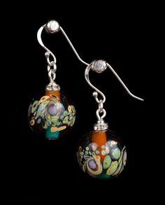 Lampwork Earrings GlassTopaz and Green Round Earrings. by IraShop