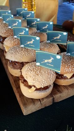 Mini Gourmet Hamburgers with Springbok Rugby Flags