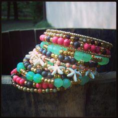 Beaded Boho Wrap Bracelet, Turquoise Jade Coral Bracelet, Memory Wire Bracelet, Wrap Around Bracelet, Beaded Bracelet Cuff, Stacked Bracelet on Etsy, $37.00