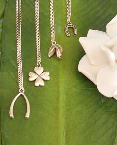 Four leaf clover, wishbone, fortune cookie or horseshoe charm silver necklace, handmade jewelry