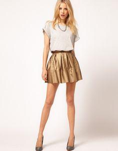 Love this gold skater skirt