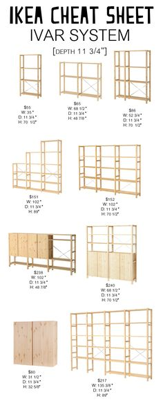 Ivar System: Ikea Cheat Sheet - Petite Modern Life Looking for an easy way to navigate the Ikea Ivar System? Check out my Ikea Cheat Sheet to find the right dimensions and cost for your space. Ikea Ivar Shelves, Ivar Ikea Hack, Ikea Storage, Ikea Hacks, Storage Ideas, Diy Hacks, Ikea Ivar Regal, Dressing Ikea, Ikea Pantry