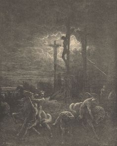 The Darkness At The Crucifixion - Gustave Dore Dore's Bible is filled with wonderful artwork like this. Gustave Dore, Catholic Pictures, Jesus Pictures, Catholic Art, Religious Art, Gravure Illustration, Satanic Art, Dark Artwork, Bible Illustrations