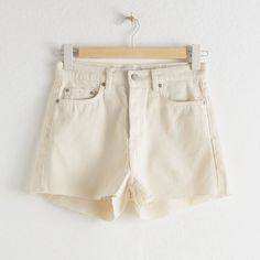 & Other Stories Raw Edge Denim Shorts White Denim Shorts, Denim Cutoffs, Leather Shorts, Comfy Shorts, Lounge Shorts, Casual Shorts, Short Outfits, Summer Outfits, Summer Clothes