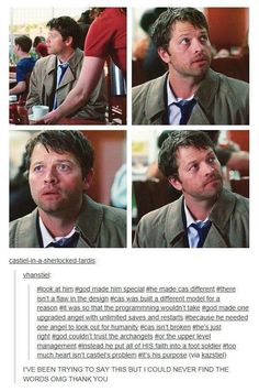 too much heart isn't castiel's problem, it's his purpose