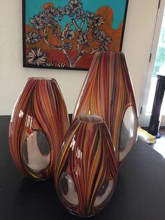 Missoni For Target Set Of 3 Heavy Blown Glass Vases  #Target