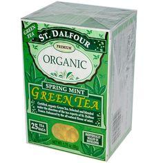 St. Dalfour, Organic, Spring Mint Green Tea, 25 Tea Bags, 1.75 oz (50 g) - iHerb.com. Bruk gjerne rabattkoden min (CEC956) hvis du vil handle på iHerb for første gang. Da får du $5 i rabatt på din første ordre (eller $10 om du handler for over $40), og jeg blir kjempeglad, siden jeg får poeng som jeg kan handle for på iHerb. :-)