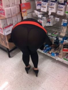 Why Do They Put Stock on the Bottom Shelf? - Sheer Black Leggings at Walmart - Funny Pictures at Walmart