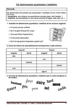 Fitxa 4 per a practicar els Quantitatius i els Indefinits. Grow Shop, Sheet Music, School, Backpacks, Atelier, Exercises, Music Score, Music Notes