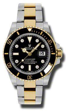 DREAAAAAAMMMMM Rolex Submariner Black Dial Stainless Steel and 18K Yellow Gold Bracelet Mens Watch