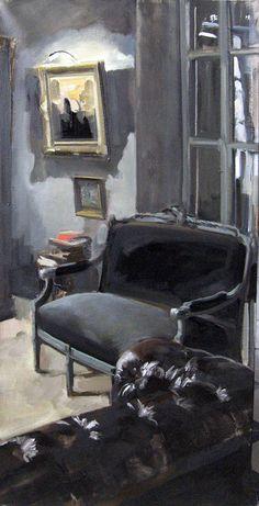 LE CANAPE GRIS Huile sur toile 50 x 100 cm / Oil on canvas 19,7x 39,4 inches Vendue