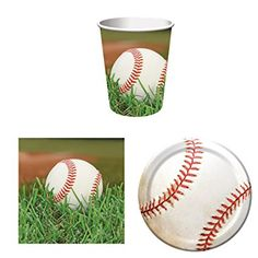 Sports Fanatic Baseball Party Supplies Set for 16: Plates, Napkins, and Cups