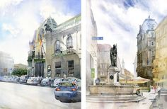 Grzegorz Wrobel__watercolor paintings_city-art_акварель_город