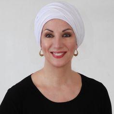 Frete grátis para US!  Branco faísca Turban chapéu e lenço Set, Cabeça Wrap, Alopecia lenço principal, Chemo Hat, Hat & Scarf Set