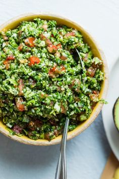 This traditional Lebanese Tabbouleh Salad recipe is a healthy vegan Mediterranean appetizer made with bulgur, parsley, mint and chopped vegetables. | Lebanese Recipes | Healthy Salad | Healthy Appetizers | #salad #tabbouleh #healthyrecipes #feelgoodfoodie via @feelgoodfoodie1