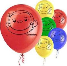 """Included: 8 Balloons Total 12"""" Curious George Latex Balloons Print is on 1 sides Colors MAY include Red, Yellow, Lime Green, Blue Print is Black These items may arrive flat or in retail packaging All"""