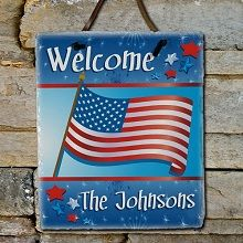 American Flag Personalized Patriotic Slate Plaque. The strength of slate and the pride of America